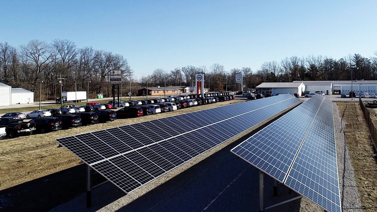 Monken Automotive commercial ground mounted solar for car dealership